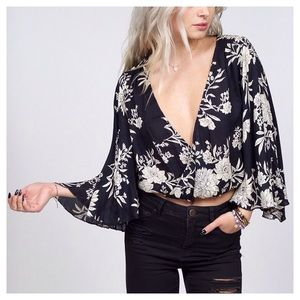 5f6358f0aed Nasty Gal Tops | Sale Amuse Society Pipa Floral Bell Sleeve Top ...